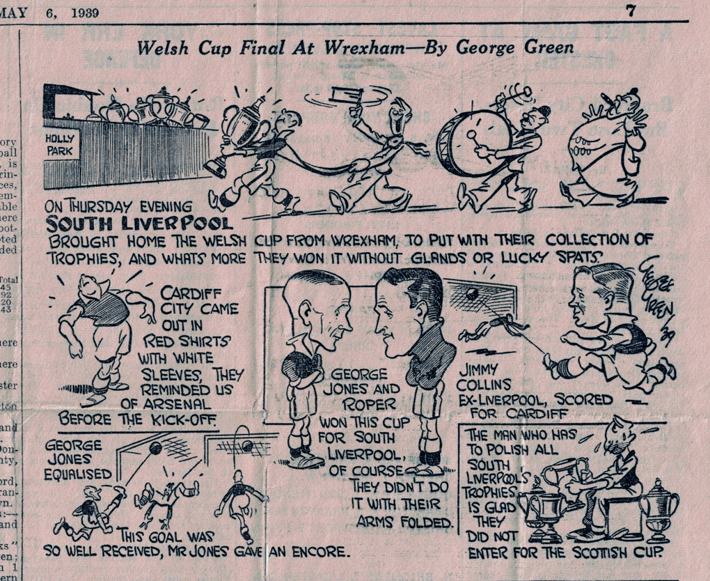 Welsh Cup Final at Wrexham- Cartoon by George Green