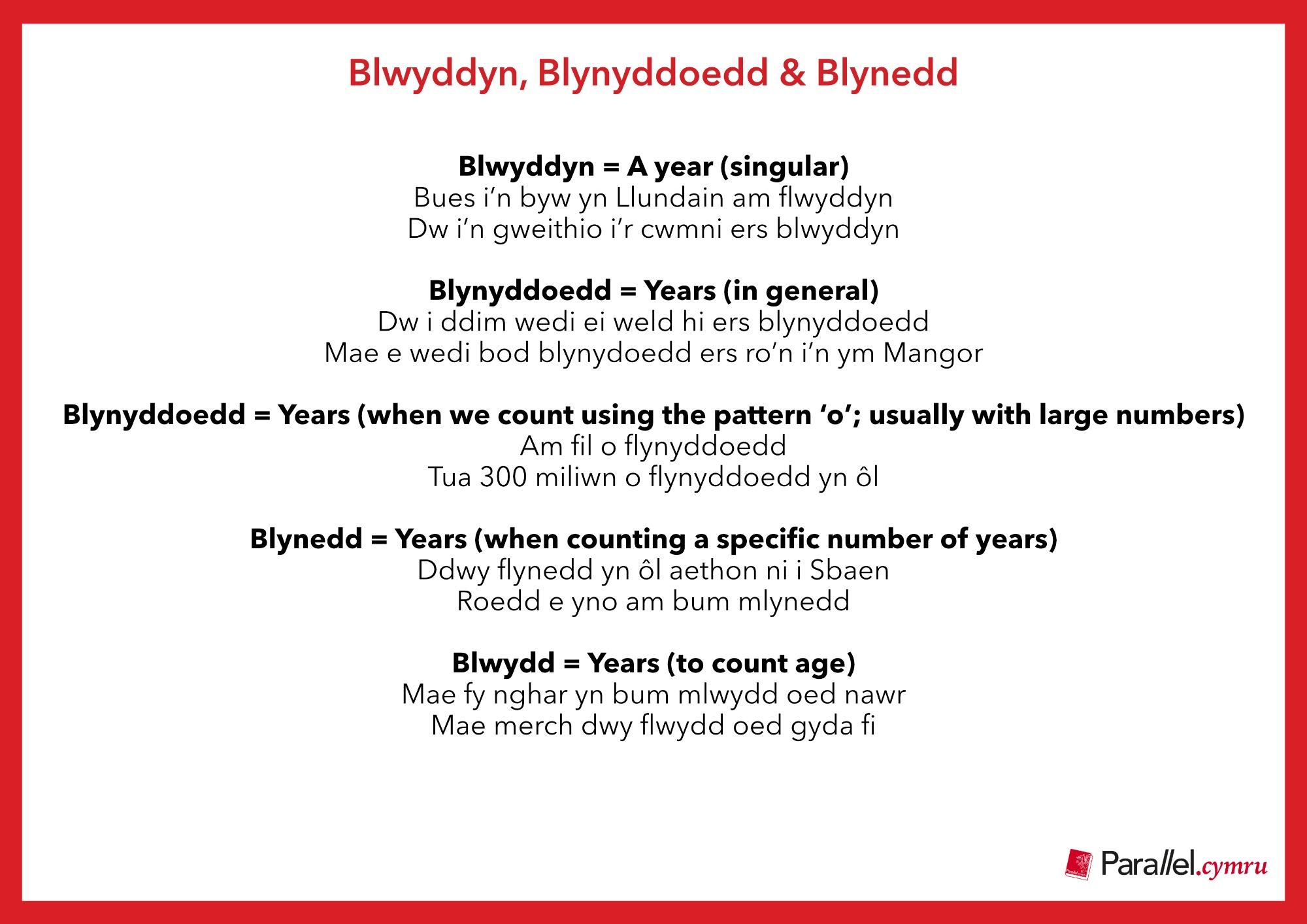 Ask Dr Gramadeg Blwyddyn, Blynyddoedd & Blynedd