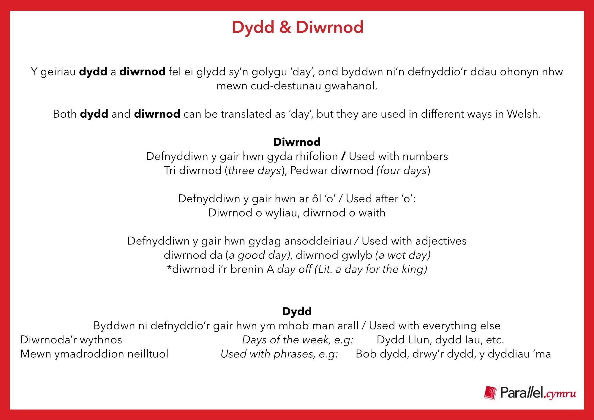 Ask Dr Gramadeg Dydd & Diwrnod