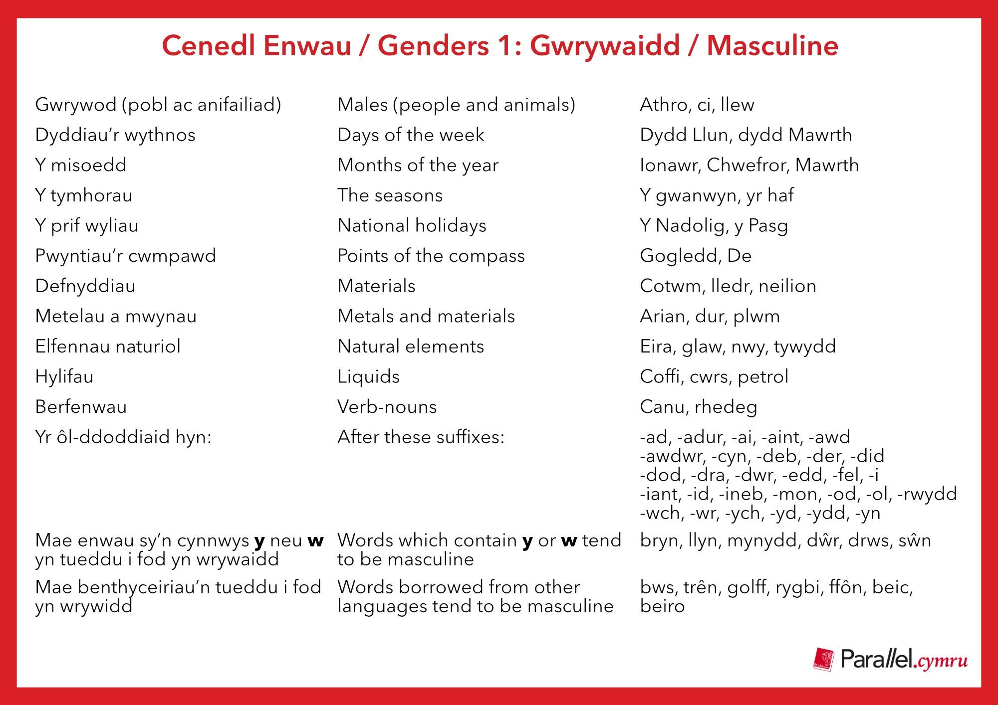 Ask Dr Gramadeg- Genders Masculine