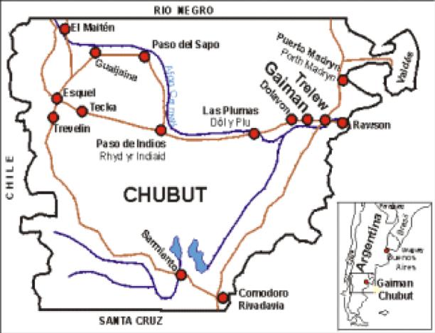 Dafydd Roberts Patagonia Map Chubut