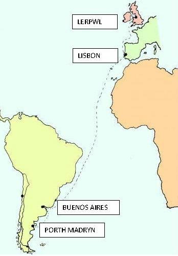 Map yn dangos y daith