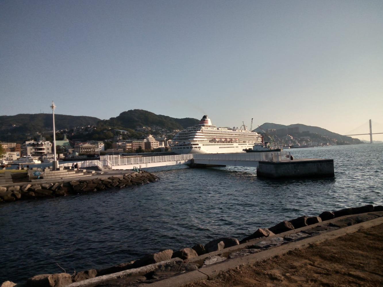Passenger liner leaving Nagasaki