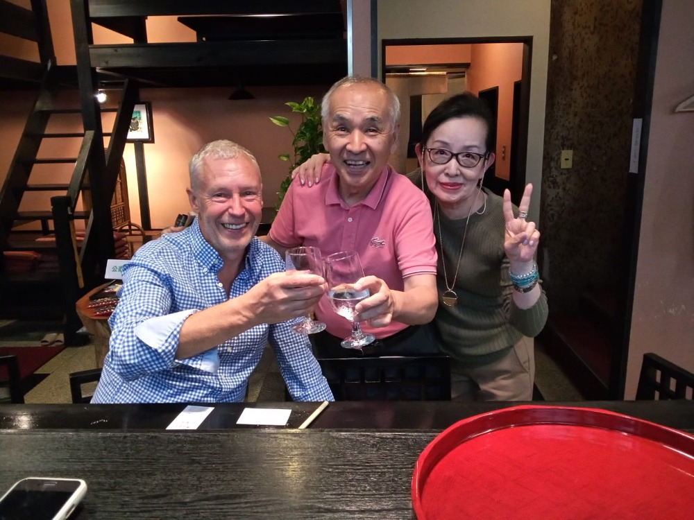 Toast with owners of Katarou restaurant