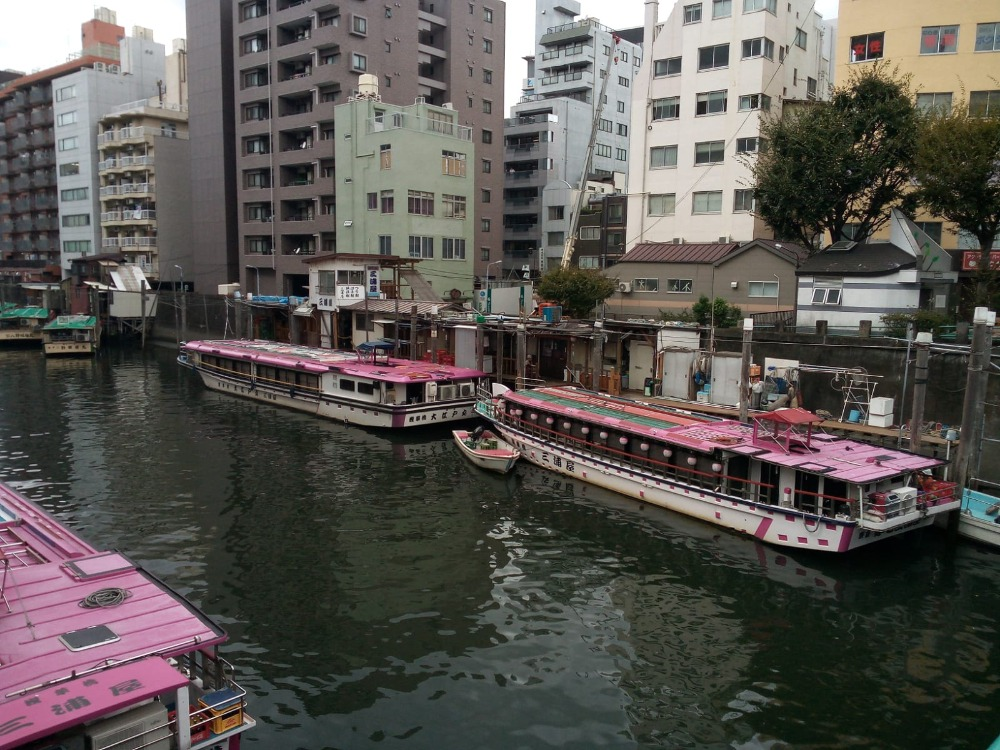 Tourist boats on a Tokyo River