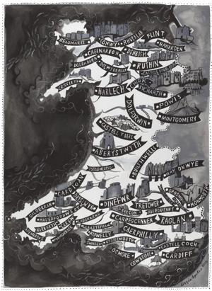 Map o Gymru Cestyll Driftwood Designs