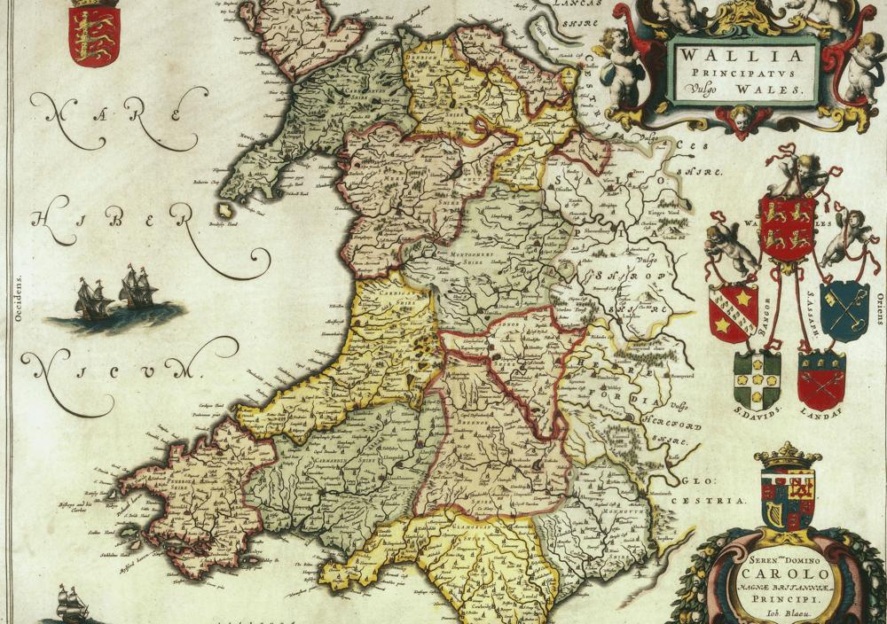 Map o Gymru Joan Blaeu 1645