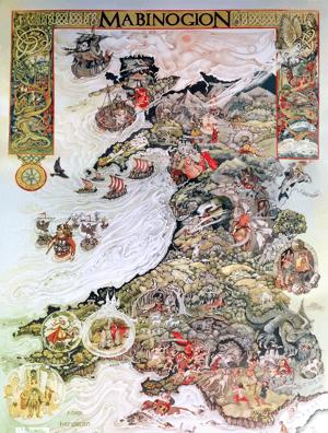 Map o Gymru Y Mabinogion gan y Lolfa