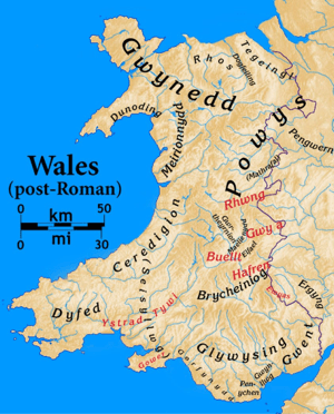 Map o Gymru The Kingdoms of early Wales