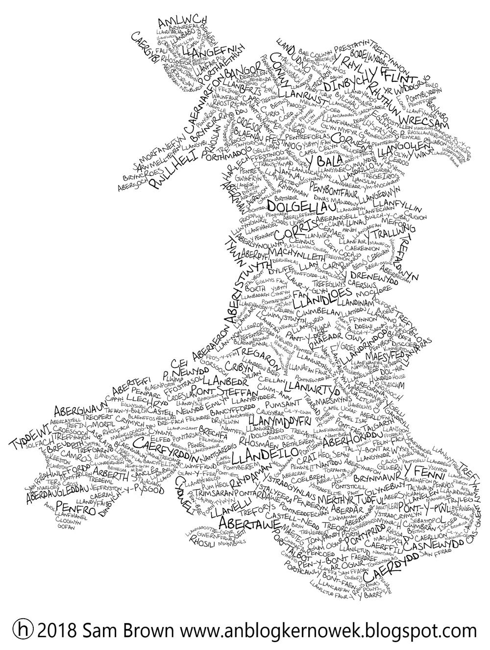 Map o Gymru mewn enwau llefydd gan Sam Brown