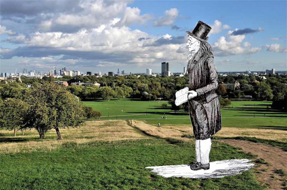 Primrose Hill with Iolo Morganwg illustration
