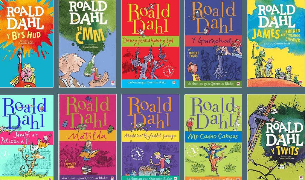 Casgliad o lyfrau Roald Dahl yn y Gymraeg, sydd wedi cael eu cyfieithu gan Elin Meek