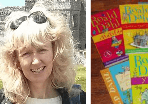 Translator Elin Meek with Roald Dahl books in Welsh