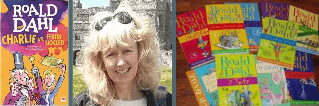 Translator Elin Meek with Roald Dahl books in Welsh