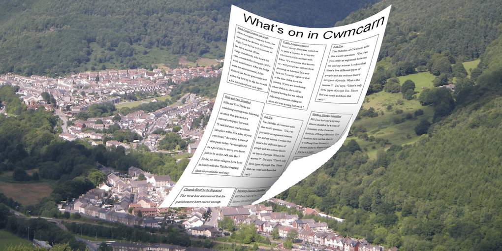 David Jandrell's first 'What's On In Cwmcarn' newsletter- Legacy Edition